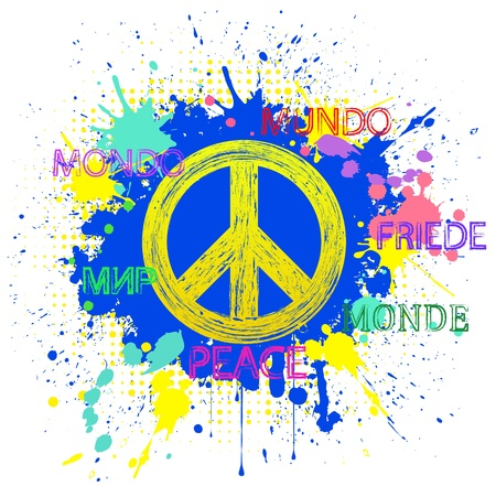 simbolo de la paz: Ilustración del símbolo de la paz en el fondo azul del grunge