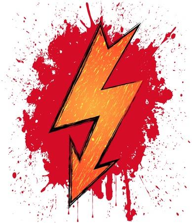 Illustration of lightning symbol on blood background Stock Vector - 13594262