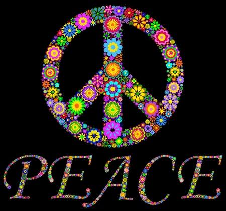 segno della pace: Illustrazione di colori simbolo del Pacifico su sfondo nero Vettoriali