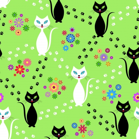 Illustration of seamless  pattern with   black and white cats Vector
