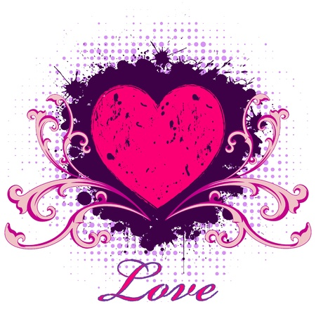 Illustration of abstract grunge heart Vector