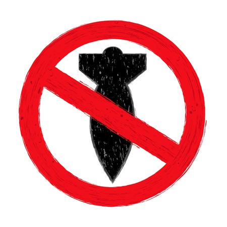 warhead: Illustration of NO WAR sign  on white background
