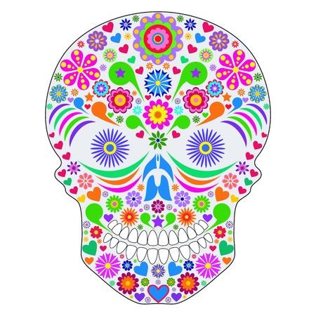 dode bladeren: Illustratie van abstracte schedel op een witte achtergrond