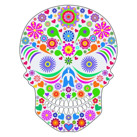 Illustration of abstract skull isolated on white background Vector