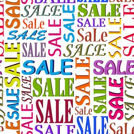 Illustration of seamless  pattern with  words SALE Vector