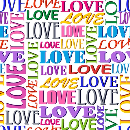 Illustration of seamless  pattern with  words LOVE Vector