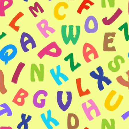 garabatos: Ilustración de patrón transparente con letras de colores