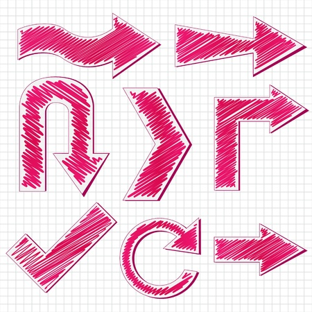 curve arrow: Vector illustration of  arrows symbol with scribble effect
