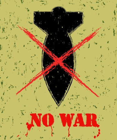The poster with a nuclear warhead on grunge background Vector