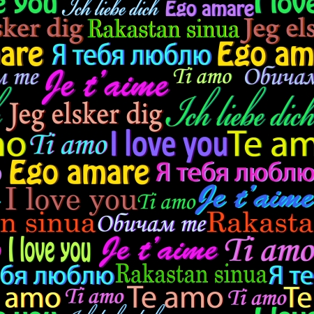 illustration of seamless  pattern with  words I love you on different languages Vector