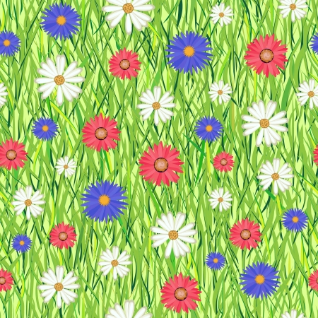 Vector illustration of seamless pattern with abstract grass and flowers Vector