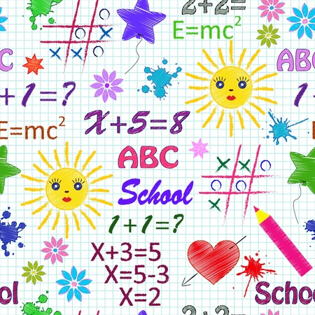 algebra: Vector illustration of school seamless pattern with different  elements