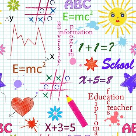 illustrarion del patrón de la escuela sin problemas con elementos diferentes