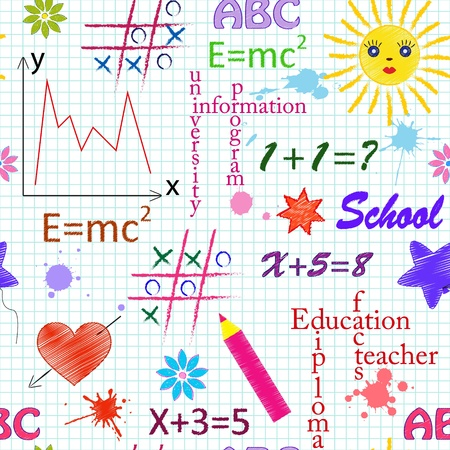 illustrarion of school seamless pattern with differents  elements Vector