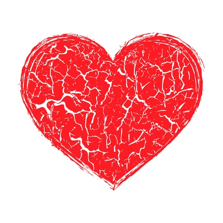 Vector illustration of the destroyed heart on white background Stock Vector - 13846990