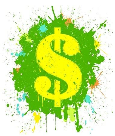 Vector illustration of grunge dollar sign Vector