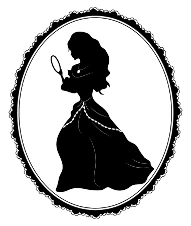 Illustration of vintage  female   silhouette on white background Vector