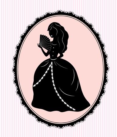 silueta de la vendimia mujer sobre fondo de color rosa