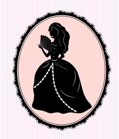 vintage female silhouette on pink background