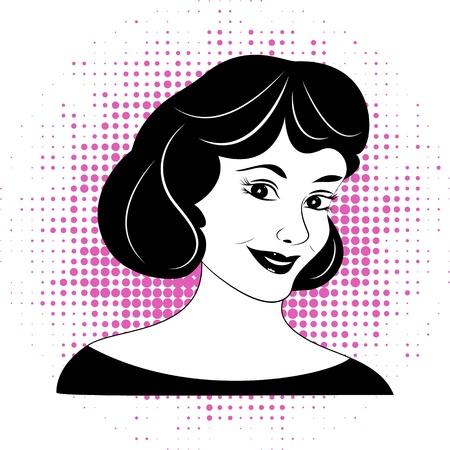 illustration of retro  female  face Vector