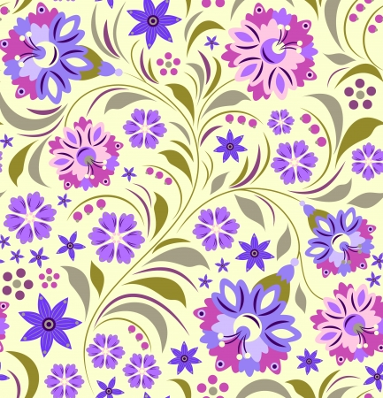 Illustration of seamless flowers pattern  Floral background Vector