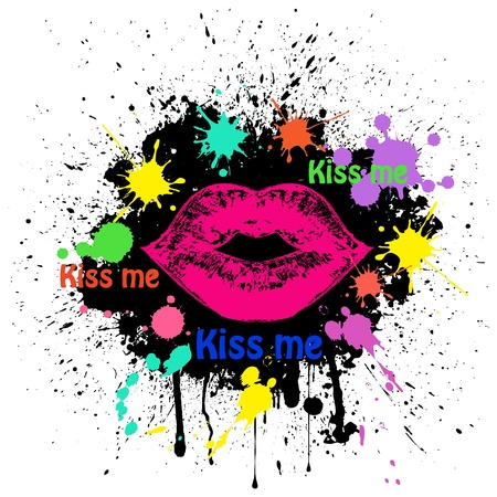 grunge lips on black Stock Vector - 13966426