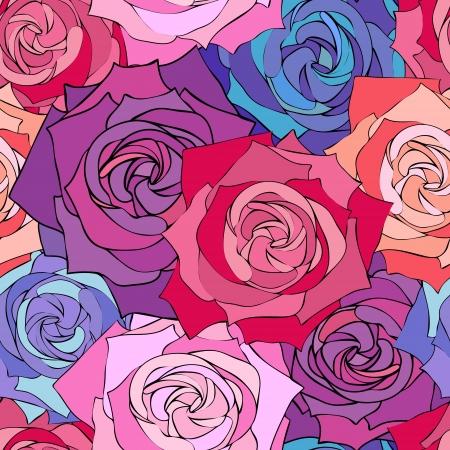 Vector illustratie van naadloze rozen patroon. Bloemen achtergrond
