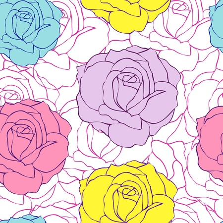 Vector illustration of seamless flowers pattern. Floral background Vector