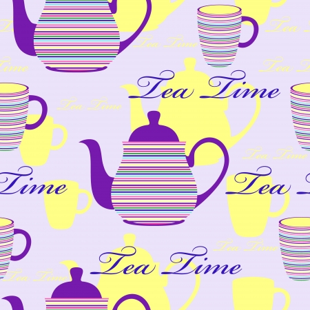 Vector illustration of seamless pattern with striped teapots and cups Vector