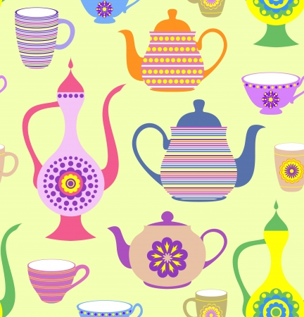 teapot: Vector illustration of seamless pattern with striped teapots and cups
