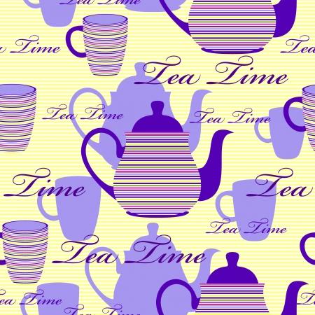 british culture: Ilustraci�n vectorial de patr�n transparente con rayas teteras y tazas