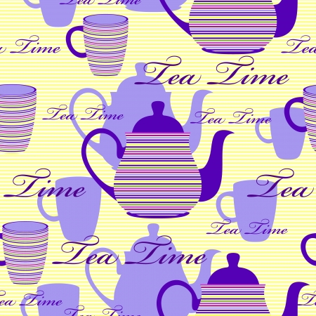 english culture: Vector illustration of seamless pattern with striped teapots and cups