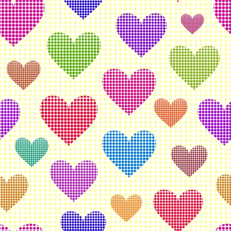 Illustration of seamless with abstract dotted hearts Vector