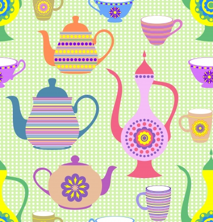 Vector illustration of seamless pattern with striped teapots and cups Stock Vector - 14100530