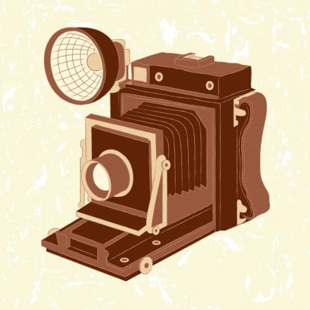 Ilustración vectorial de la cámara de fotos de la vendimia en fondo del grunge
