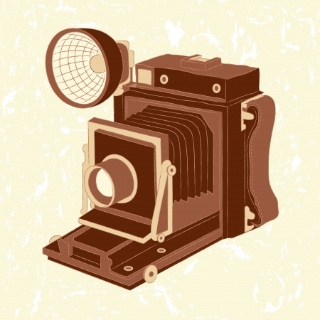 digital camera: Vector illustration of vintage photo camera on grunge background