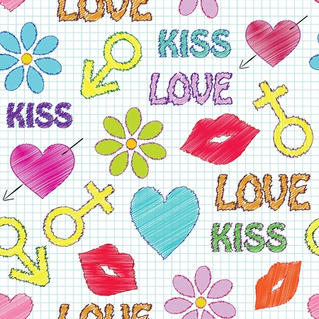 illustration of  seamless pattern with different elements. Love theme