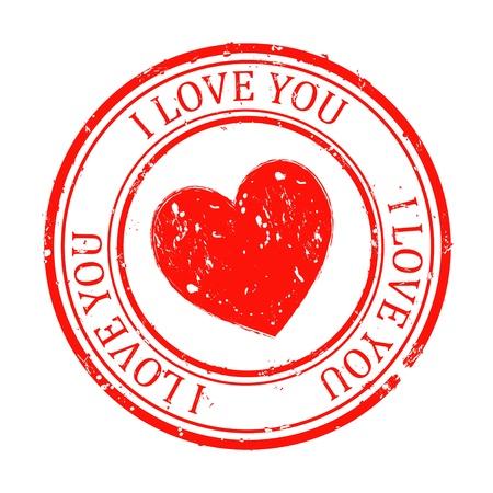 heart  love: Vector illustration of stamp isolated on white background Illustration