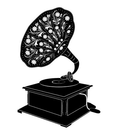 illustratie og retro grammofoon op een witte achtergrond Vector Illustratie