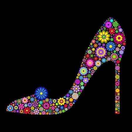 purple shoes: Illustration of flower shoe on black background Illustration