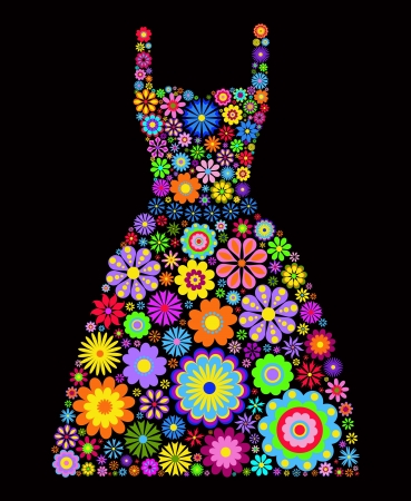 Illustration of flower dress on black background Vector