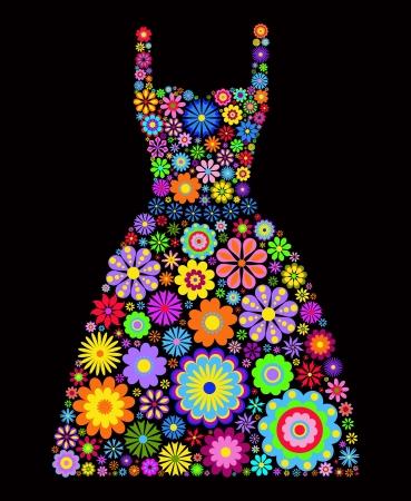 pink dress: Illustration of flower dress on black background