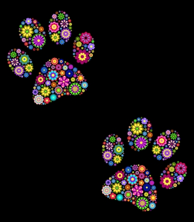 dog track: illustration of  floral  animal paw print on black background