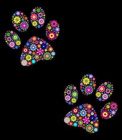 huellas de perro: ilustraci�n de la pata de los animales de estampado floral sobre fondo negro