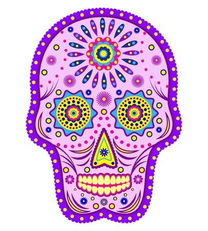 dode bladeren: Illustratie van abstracte schedel geïsoleerd op een witte achtergrond.