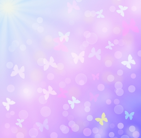sunrays: Illustration of colorful background with butterflies