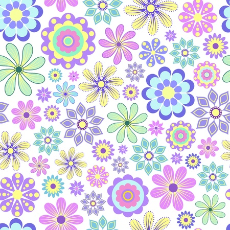 Vector illustration of pastel flowers on white background. Vector