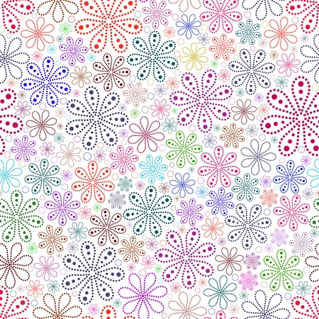 Vector illustration o seamless with colorful flower on white  background. Vector