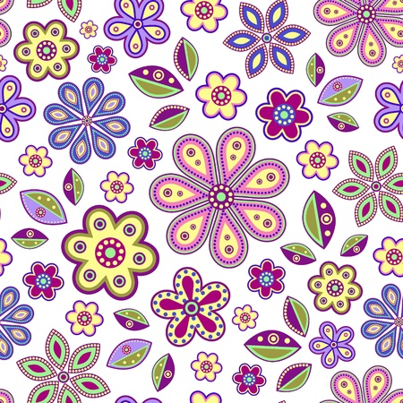 illustration of  seamless with colorful abstract flowers on white background  Çizim