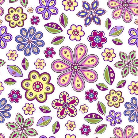 flower art: illustrazione di senza soluzione di continuit� con fiori astratti colorati su sfondo bianco Vettoriali